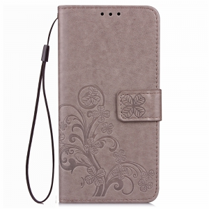 Yc Lucky Clover Holster Leaf Card Lanyard Pu Leather Case for Samsung On5 -