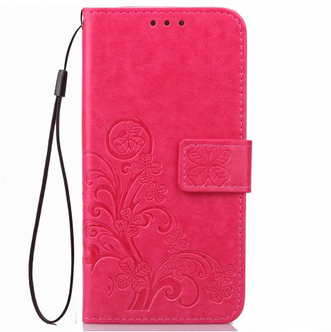 Hot Yc Lucky Clover Holster Leaf Card Lanyard Pu Leather Case for Samsung On5