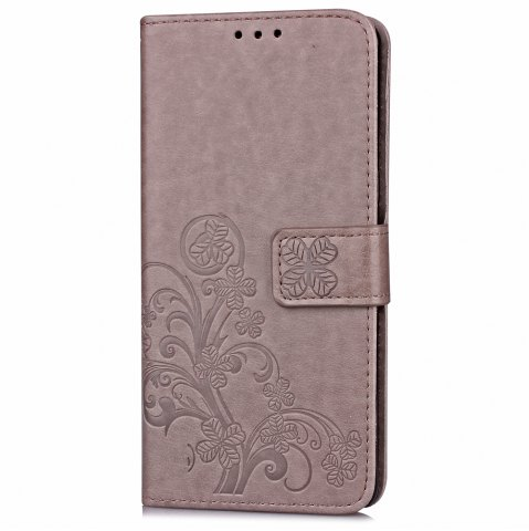 Fashion Yc Lucky Clover Holster Leaf Card Lanyard Pu Leather Case for Samsung On5