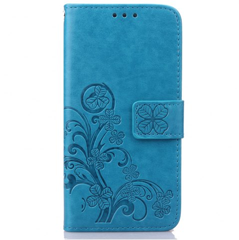 Cheap Yc Lucky Clover Holster Leaf Card Lanyard Pu Leather Case for Samsung S5 Mini