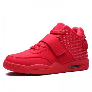 Breathable Solid Color Rivets Sneakers - RED 45