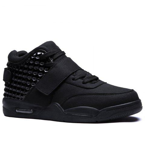 Sale Breathable Solid Color Rivets Sneakers BLACK 45