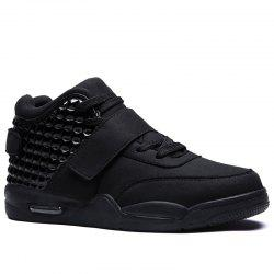 Breathable Solid Color Rivets Sneakers - BLACK 45