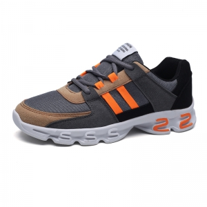 Color Block Mens Sports Shoes - GREY AND ORANGE 43