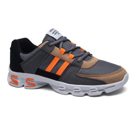 Fashion Color Block Mens Sports Shoes GREY AND ORANGE 43