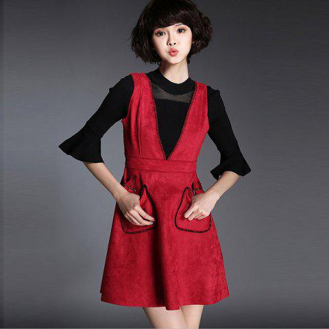 Fancy Suede Plunge Neck A-Line Dress BRIGHT RED S