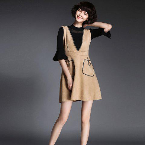 Hot Suede Plunge Neck A-Line Dress
