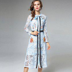 Lace Embroidery Waist Long Sleeves Dress -