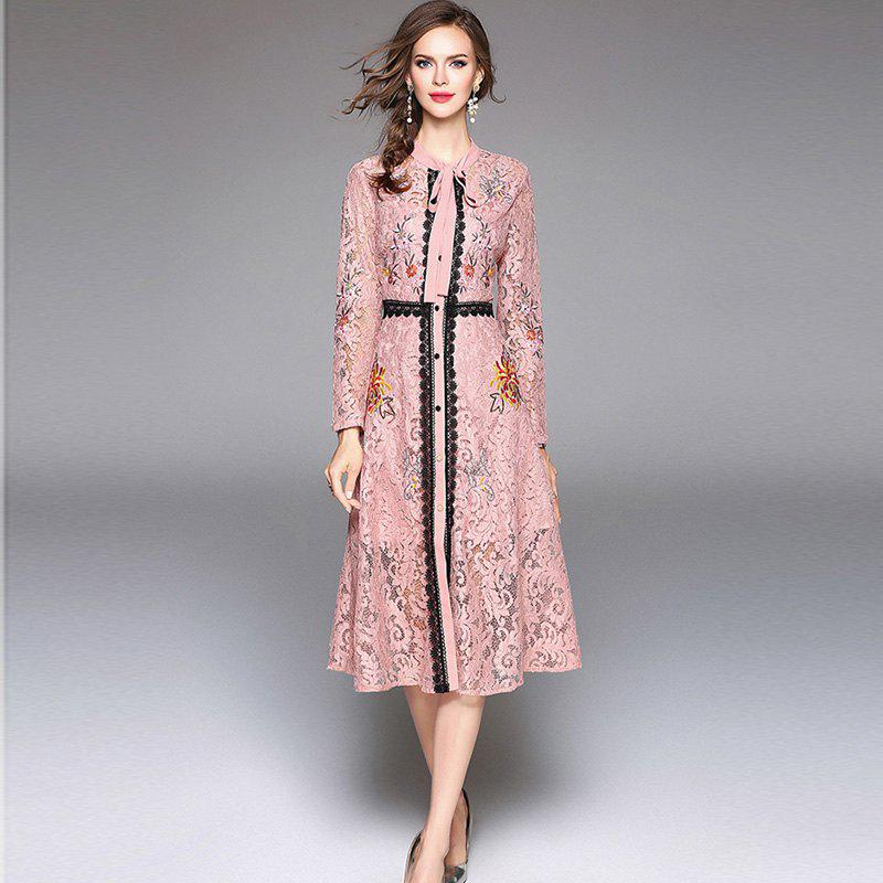 Unique Lace Embroidery Waist Long Sleeves Dress