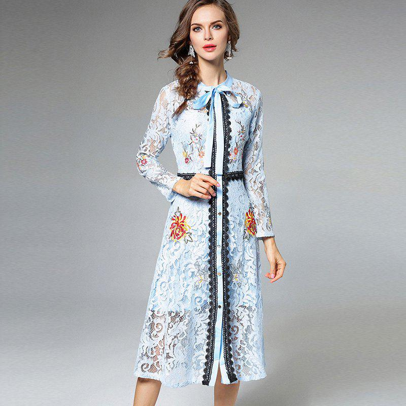 Trendy Lace Embroidery Waist Long Sleeves Dress