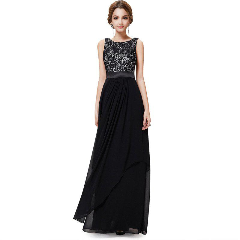 Elegant Long Cocktail DressWOMEN<br><br>Size: XL; Color: BLACK; Image Source: Reference Images; Silhouette: Ball Gown; Dresses Length: Floor-Length; Train: Court Train; Fabric Type: Lace; Material: Rayon; Season: Fall,Spring,Summer; Body Shape: Misses; Built-in Bra: No; Weight: 0.3100kg; Package Contents: 1 x Dress;