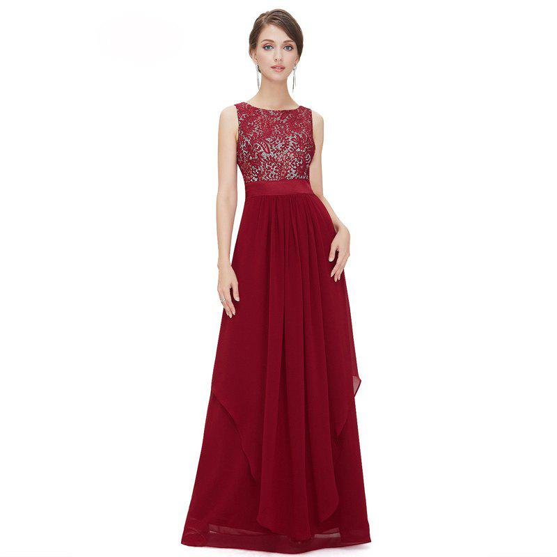 Elegant Long Cocktail DressWOMEN<br><br>Size: M; Color: RED; Image Source: Reference Images; Silhouette: Ball Gown; Dresses Length: Floor-Length; Train: Court Train; Fabric Type: Lace; Material: Rayon; Season: Fall,Spring,Summer; Body Shape: Misses; Built-in Bra: No; Weight: 0.3100kg; Package Contents: 1 x Dress;