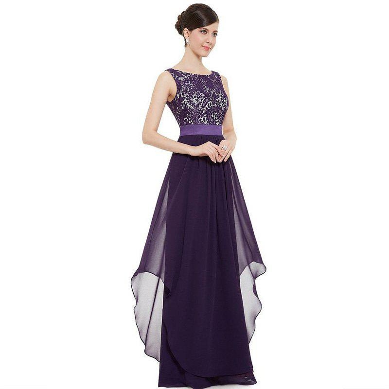 Elegant Long Cocktail DressWOMEN<br><br>Size: S; Color: REGALIA; Image Source: Reference Images; Silhouette: Ball Gown; Dresses Length: Floor-Length; Train: Court Train; Fabric Type: Lace; Material: Rayon; Season: Fall,Spring,Summer; Body Shape: Misses; Built-in Bra: No; Weight: 0.3100kg; Package Contents: 1 x Dress;