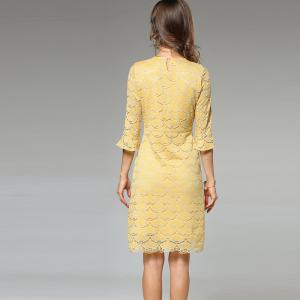 Lece Embroidery Fashion Slim Round Neck Trumpet Sleeves Dress - YELLOW XL