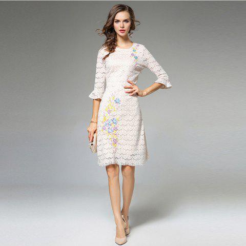 Shop Lece Embroidery Fashion Slim Round Neck Trumpet Sleeves Dress