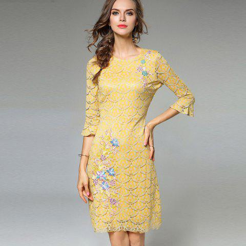Shops Lece Embroidery Fashion Slim Round Neck Trumpet Sleeves Dress - XL YELLOW Mobile