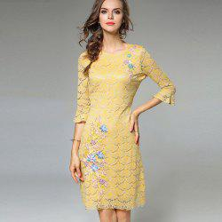 Lece Embroidery Fashion Slim Round Neck Trumpet Sleeves Dress -