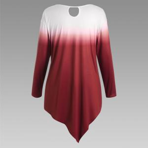 Autumn New Printing Irregular Long-Sleeved Large Size Female T-Shirt -