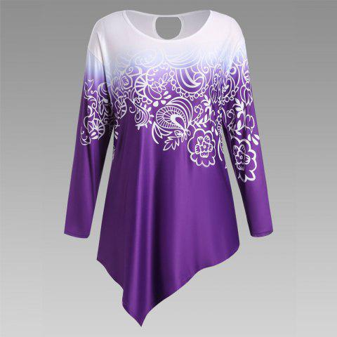 Outfits Autumn New Printing Irregular Long-Sleeved Large Size Female T-Shirt PURPLE XL