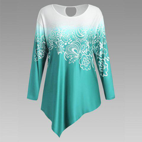 Chic Autumn New Printing Irregular Long-Sleeved Large Size Female T-Shirt GREEN 2XL