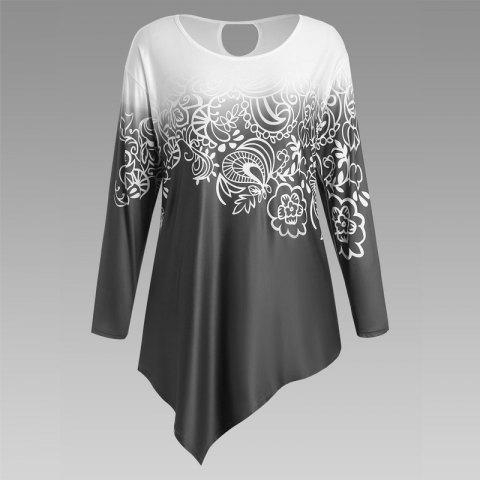 Trendy Autumn New Printing Irregular Long-Sleeved Large Size Female T-Shirt BLACK XL