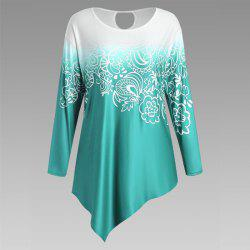 Autumn New Printing Irregular Long-Sleeved Large Size Female T-Shirt - GREEN 2XL