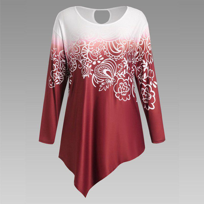 Autumn New Printing Irregular Long-Sleeved Large Size Female T-ShirtWOMEN<br><br>Size: 5XL; Color: RED; Clothing Style: T-Shirt; Material: Cotton Blend; Composition: ??; Sleeve Length: Long Sleeves; Pattern Style: Print; Elasticity: Micro-elastic; Weight: 0.3000kg; Package Contents: 1 x T-Shirt;