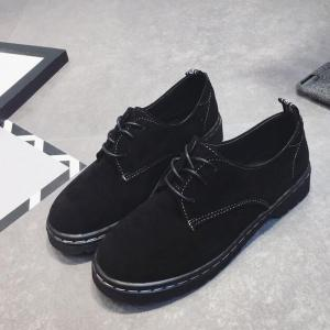 Fashionable Autumn Frosted Small Leather Shoes Womens Flat Shoes College Wind Belt Leisure Shoes Vintage Block British Style - BLACK 39
