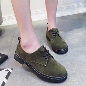 Fashionable Autumn Frosted Small Leather Shoes Womens Flat Shoes College Wind Belt Leisure Shoes Vintage Block British Style - FERN 36
