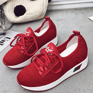 Breathable Solid Color Platform Shoes - RED 35