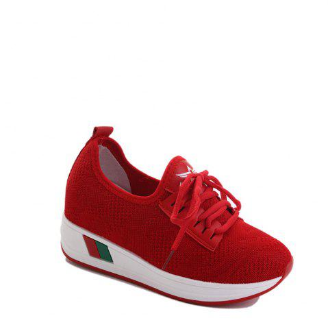 Cheap Breathable Solid Color Platform Shoes RED 35