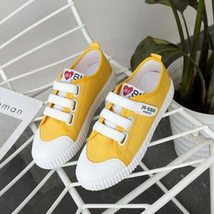 Letter Printed Solid Color Canvas Flat Shoes - YELLOW 39