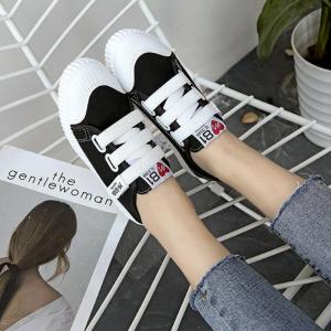 Letter Printed Solid Color Canvas Flat Shoes - BLACK 36