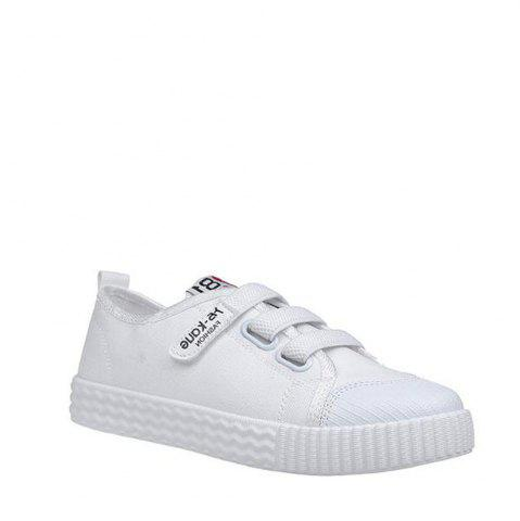 Online Letter Printed Solid Color Canvas Flat Shoes - 39 WHITE Mobile