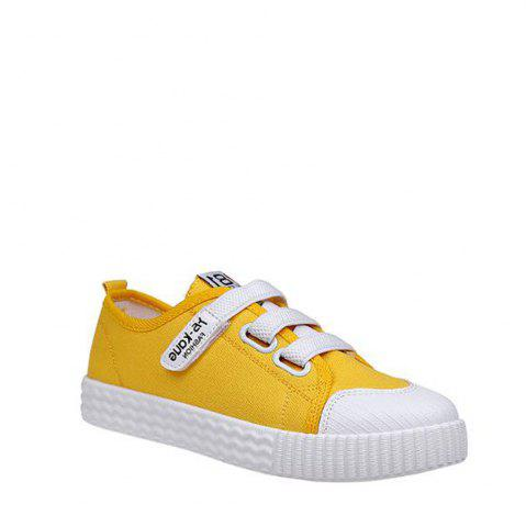 Cheap Letter Printed Solid Color Canvas Flat Shoes - 39 YELLOW Mobile