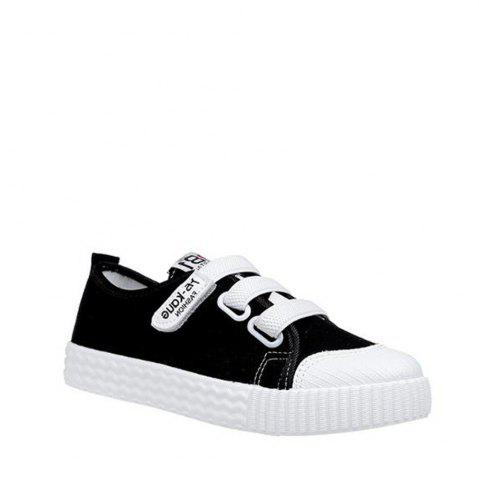 Online Letter Printed Solid Color Canvas Flat Shoes BLACK 36