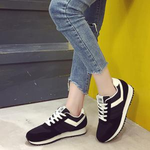 Color Block Lace-Up Sneakers -