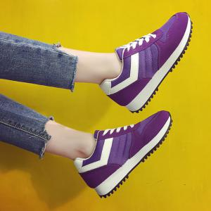 Color Block Lace-Up Sneakers - PURPLE 39