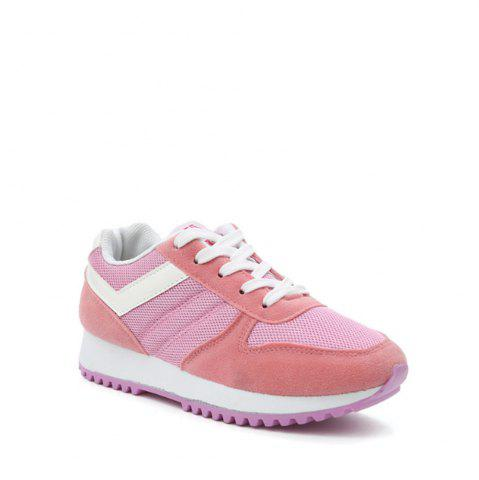 Outfit Color Block Lace-Up Sneakers - 39 PINK Mobile