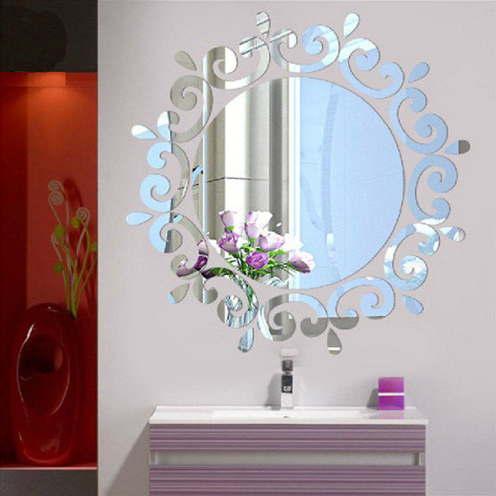 Silver Mirror Removal Wall Sticker For Living Room Bathroom ...