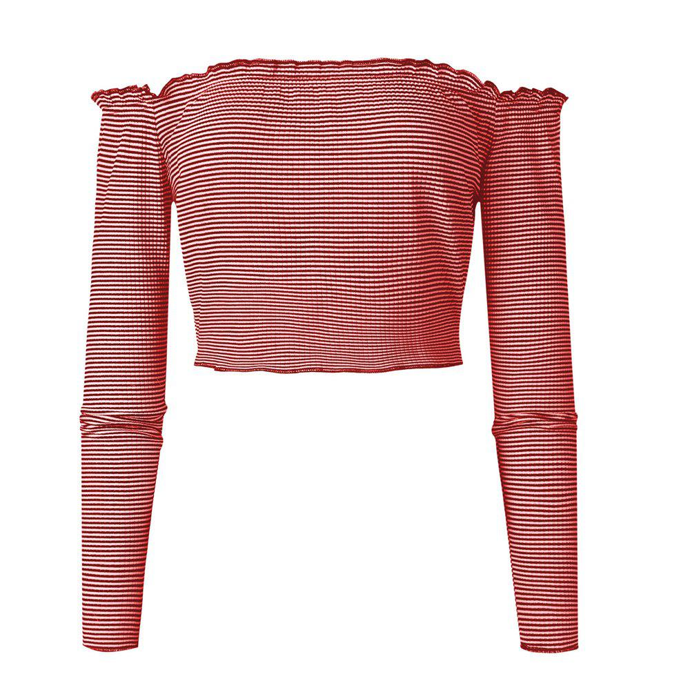 Chic Striation One Word Led Brief Paragraph Crop Top