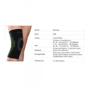 Mumian A08 Silicone Slip-Resistant Knee Black Green Color Knitting Keep Sports Knee Sleeve Brace - 1PCS -