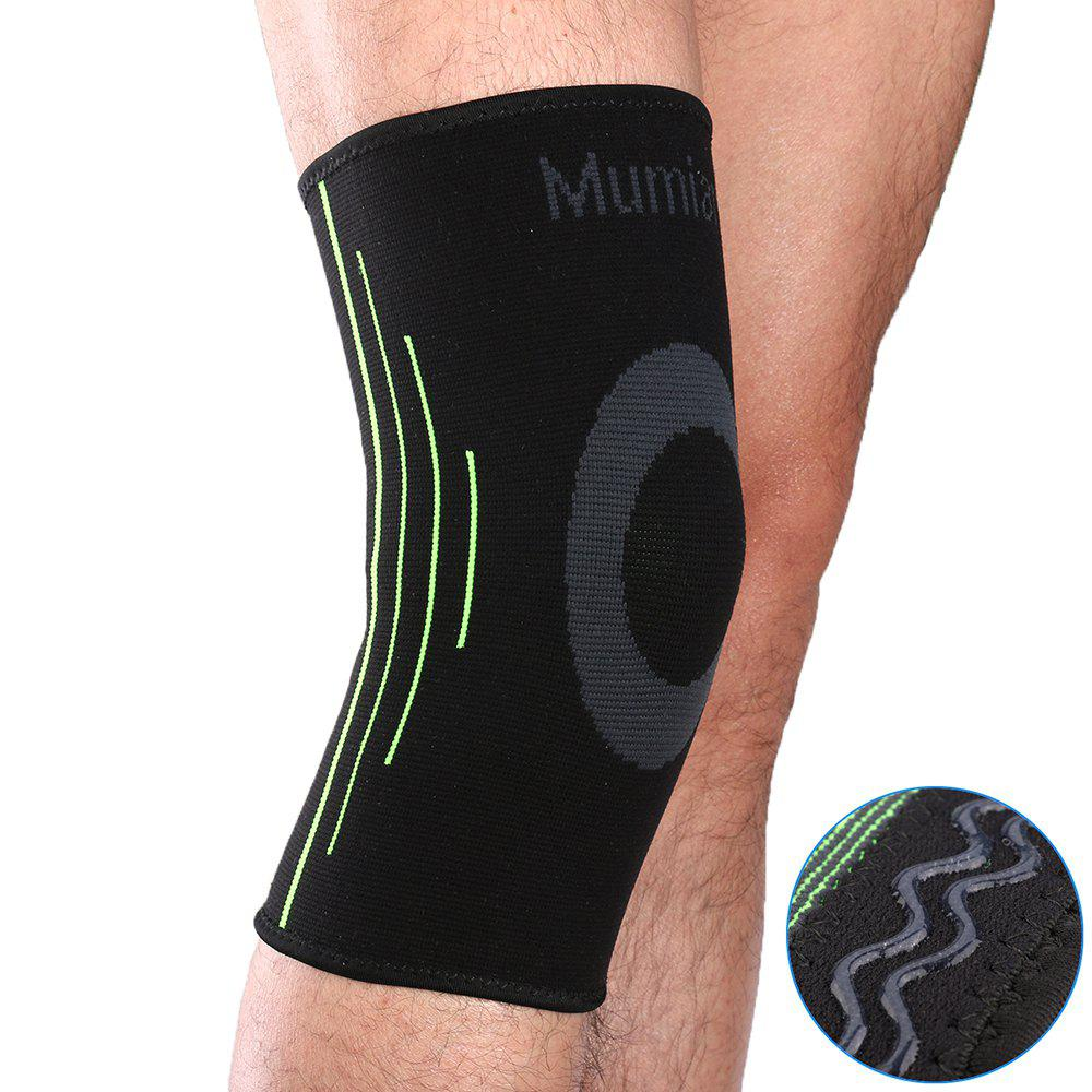 Outfit Mumian A08 Silicone Slip-Resistant Knee Black Green Color Knitting Keep Sports Knee Sleeve Brace - 1PCS