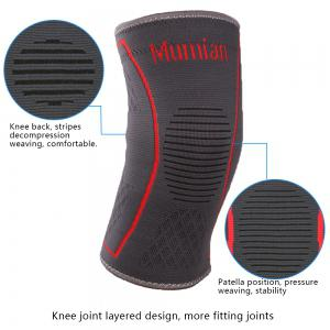 Mumian A09 Silicone Slip-Resistant Knee Black Green Color Knitting Keep Sports Knee Sleeve Brace - 1PCS -