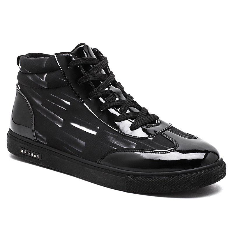Stripe Printed Solid Color Lace-Up Casual ShoesSHOES &amp; BAGS<br><br>Size: 44; Color: BLACK;