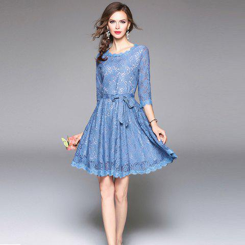 Fancy Round Neck Long Sleeve Waist Dress