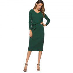 Autumn New Long Sleeved Pleated Dress -