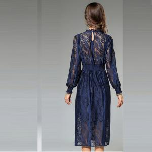 New Fashion Slim Long Sleeves Lace Dress - NAVY XL