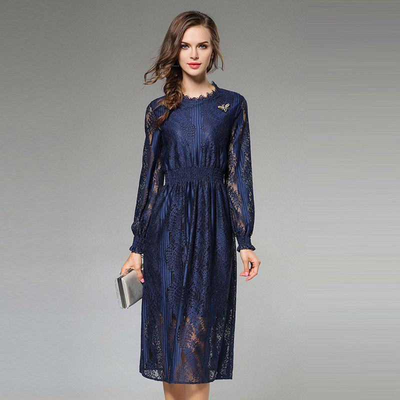Latest New Fashion Slim Long Sleeves Lace Dress