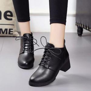 Solid Color Lace-Up High Heel Ankle Boots -